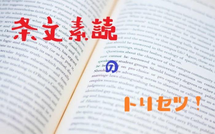 条文素読の正しい勉強法